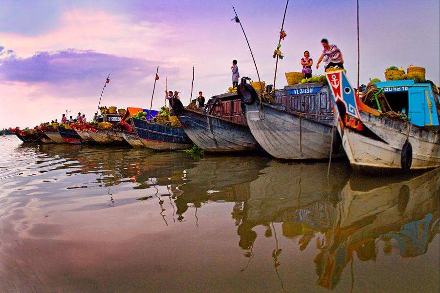 La location du marché flottant de Cai Be