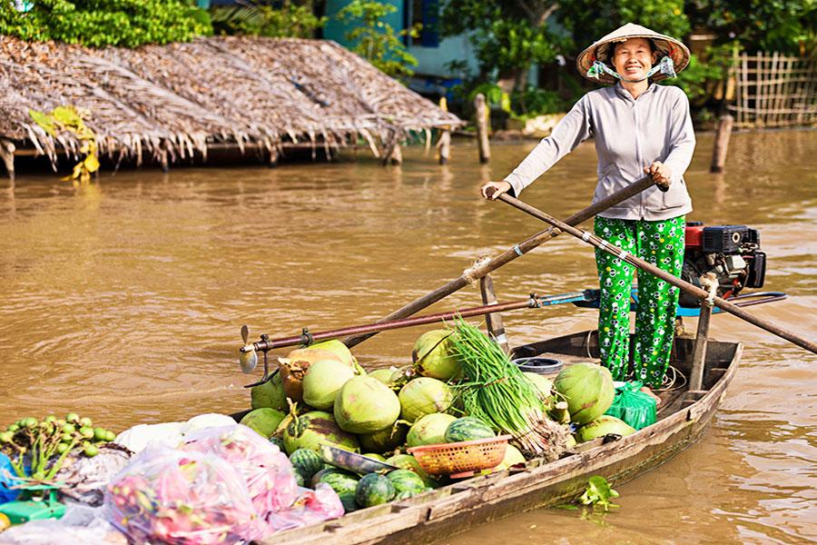 Les choses spéciales du marché flottant de Cai Be