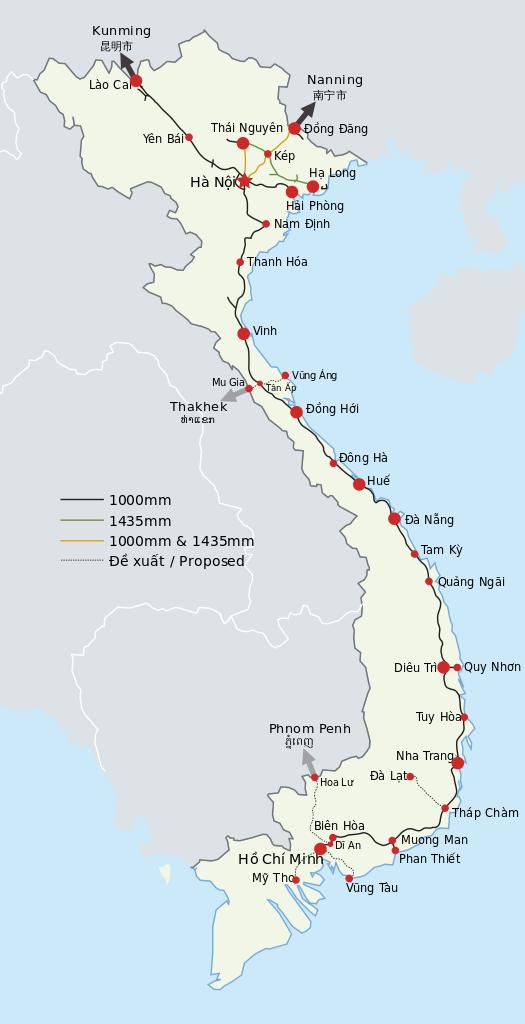 Carte des trains du Vietnam