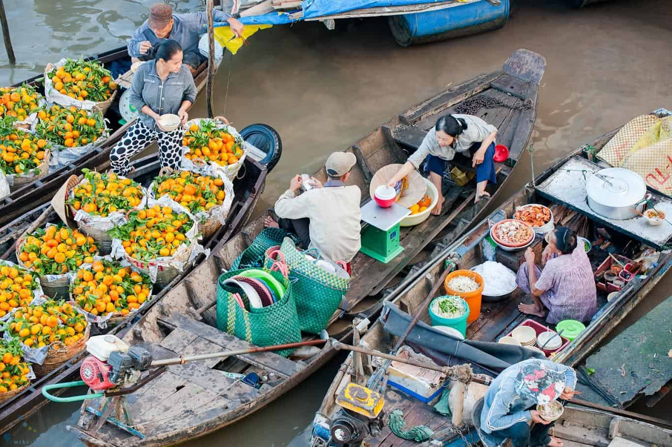 Produits locaux du marché flottant de Cai Rang