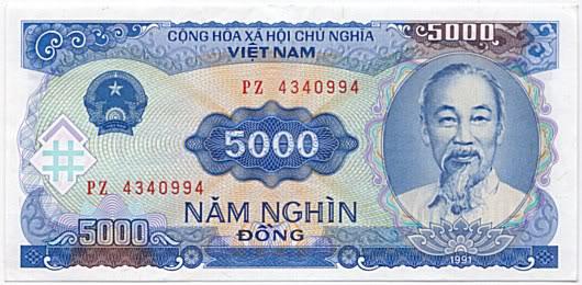 billet de 5 000 dong