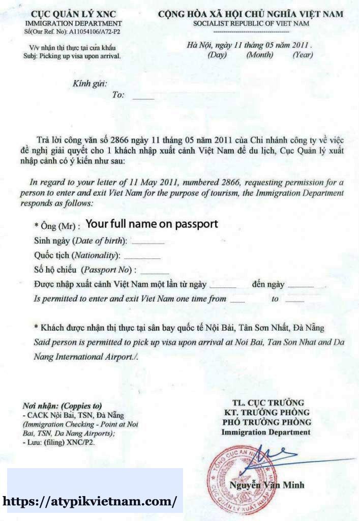 exemple de lettre d'approbation de visa pour le Vietnam