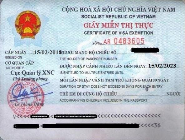 exemption visa vietnam 5 ans